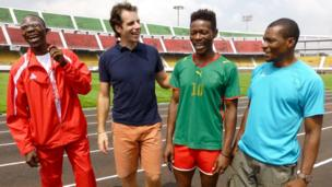 Mark Beaumont meet Cameroon's sprinters as they prepare for the para-sport event's at the Commonwealth Games.