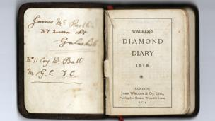 Inside page of diary reads: James McPartlin, 37 Queen St Courtesy, No 11 Coy D Batt, No 11 Coy D Batt. First page reads Walker;s Diamond Diary 1918 Lodon