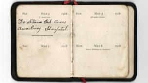 Diary reads: May 3 1918 To Stone Red Cross Auxiliary Hospital