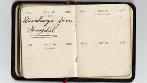 Diary reads: October 1918 - discharge from hospital.