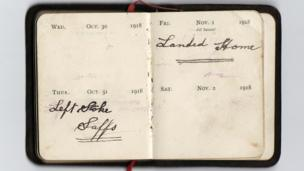 Diary reads: October 31 1918 - Left Stoke, Staffs. November 1 1918 - landed home.