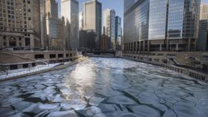 Ice in Chicago river