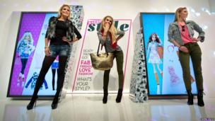 Models pose during a Barbie Runway show for the Barbie Collection 2014 on 28 January in Nuremberg, Germany.