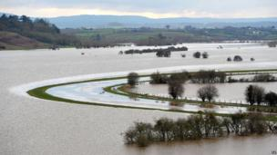 Flooded fields around River Tone