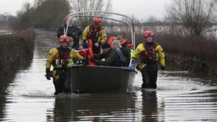 People on a rescue boat