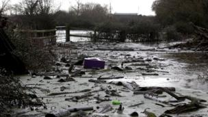 Debris washed up by floodwater
