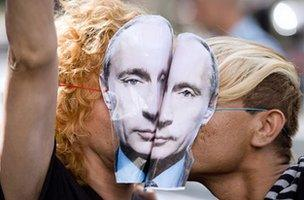 Gay rights protest in Russia