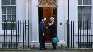Britain's Chancellor George Osborne greets the Head of the International Monetary Fund (IMF), Christine Lagarde, to 11 Downing Street in London