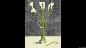 David Hockney, Lillies, 1971, Lithograph