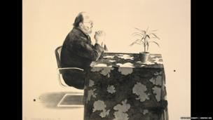David Hockney, Henry at Table, 1976, Lithograph