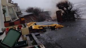The damaged sea wall at Dawlish