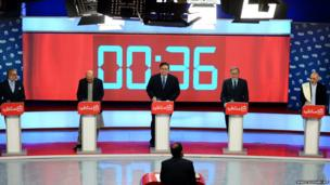 Presidential candidates in Afghanistan during a television debate