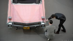 A 1959 Cadillac Series 62 is displayed ahead of a sale of vintage cars by Bonhams auction house, at Le Grand Palais in Paris, France
