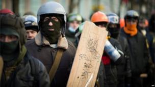 Anti-government protesters in Kiev (6 February 2014)