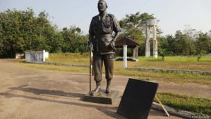 A statue of Jean-Bedel Bokassa at his old palace - Central African Republic, February 2014