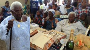 Amoin Yvonne Toure celebrates her 100th birthday with her family with cake and Champagne, Bouake, Ivory Coast - Sunday 2 February 2014
