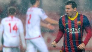 Barcelona's Argentine forward Lionel Messi celebrates after scoring a goal