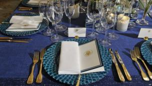 The tables are set at the White House for Tuesday's state dinner honouring French President Francois Hollande
