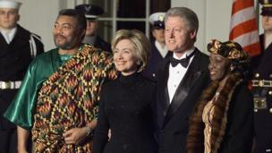 President Bill Clinton and First Lady Hillary Rodham Clinton held a state dinner for Ghana's President Jerry John Rawling in 1999