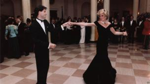 John Travolta and Princess Diana dance at a White House state dinner in 1985