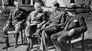 From left to right, General Henri Giraud, the commandant in chief of the French Free forces based in the North Africa, US President Franklin Delano Roosevelt, General Charles de Gaulle, the chief of French Free forces, and British Prime Minister Sir Winston Churchill, in January 1943, preparing the Normandy and Italy landings