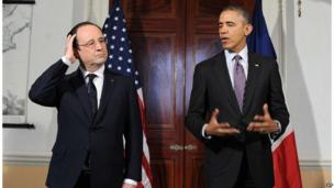 Addressing the press after their tour, Francois Hollande (left) hopes to use closer US ties to boost flagging popularity at home