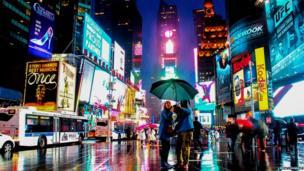 Rainy scene in Times Square.