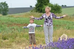 Woman and child in lavender field