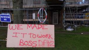 A sign made by workers at a building site in St Johns, Worcester