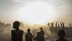 South Sudanese children from the Dinka ethnic group in a cattle camp, Yirol, South Sudan - Wednesday 12 February 2014
