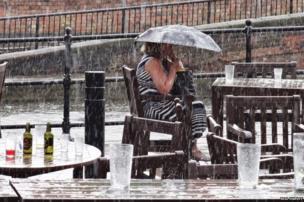 Woman sitting under an umbrella