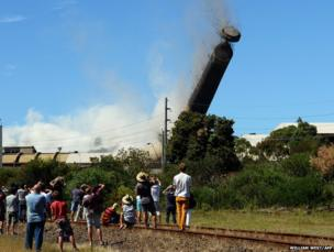 A giant chimney is demolished in Port Kembla, New South Wales