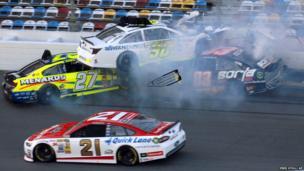 A crash during practice for the Nascar Daytona 500
