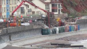 Repairs to railway line in Dawlish. Photo: Gareth Barnard