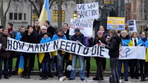 Protesters gathered outside Westminster. Photo: Marta Garcia Aliaga