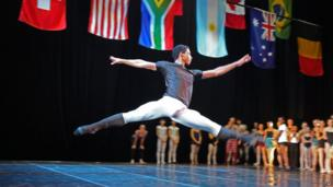 A leaping ballet dancer on stage in Cape Town, South Africa - Monday 17 February 2014