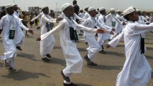 Cameroonian children marching in independence celebrations - Douala, Cameroon - Thursday 20 February 2014
