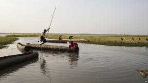 Boats on Lake Yirol on South Sudan, Sunday 16 February 2014