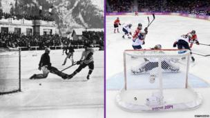 Ice hockey game in 1924 and 2014