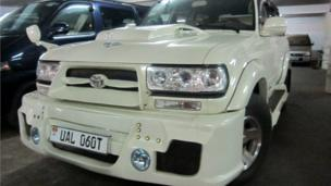 A finished car - a Toyota Land Cruiser VX - which was remodelled by Godfrey Namunye and his colleagues in Kampala, Uganda