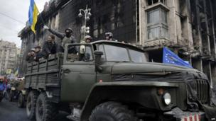 Protesters in a military vehicle in Independence Square, Kiev. 22 Feb 2014