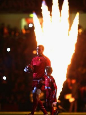 Before the match began the stadium was cloaked in darkness before the now traditional fireworks and Wales captain Sam Warburton led his team out