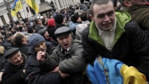 Protester in Independence Square, Kiev. 22 Feb 2014