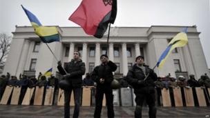 Protesters outside parliament in Kiev. 22 Feb 2014