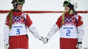 Justine Dufour-Lapointe (right) of Canada and her sister Chloe Dufour-Lapointe (left)