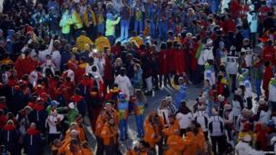 athletes in the stadium