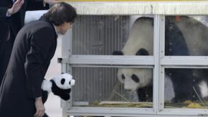 Belgium's Prime Minister Elio Di Rupo welcomed the two Giant Pandas as they arrived at Brussels airport .