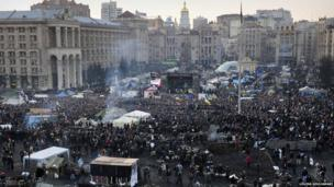 Protesters fill independence square in Kiev - aerial view