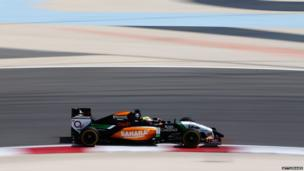 Mexico's Sergio Perez of the Force India team drives during day one of Formula One Winter Testing at the Bahrain International Circuit