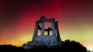 Northern lights above Stonehaven war memorial, Aberdeenshire, Scotland